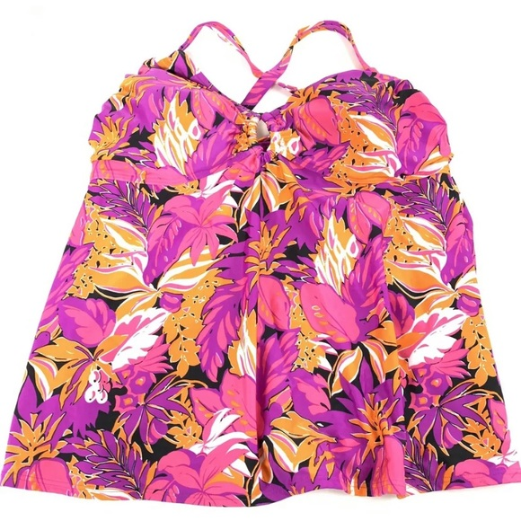 Cacique Other - Cacique Tankini Swimsuit Top 20 Tropical Floral